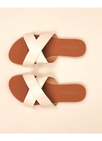 Sandale joase tip slapi cu barete incrucisate din piele