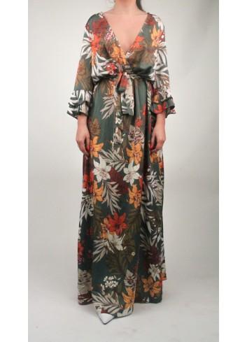 Rochie lunga petrecuta cu imprimeu floral