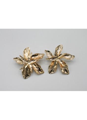 Cercei aurii statement in forma de floare