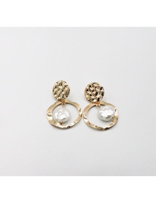 Cercei texturati cu perla