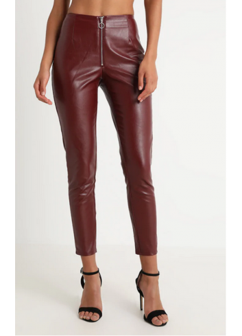Pantaloni din piele ecologica burgundy