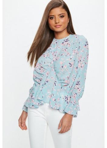 Bluza din sifon albastru pastel