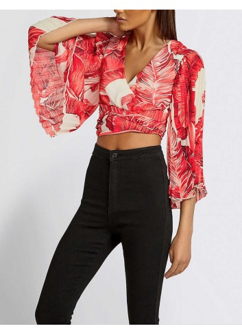 Bluza florala cu maneci evazate