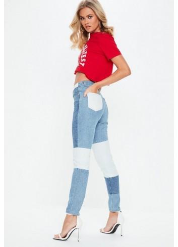 Mom jeans cu petice
