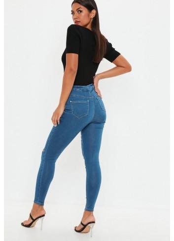 Jeans cu talie ridicata si rupturi skinny fit blue