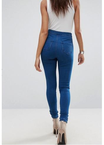 Jeans cu talie ridicata skinny fit blue