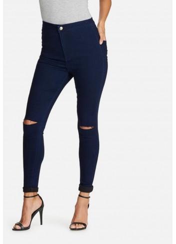 Jeans cu talie ridicata si rupturi skinny fit indigo