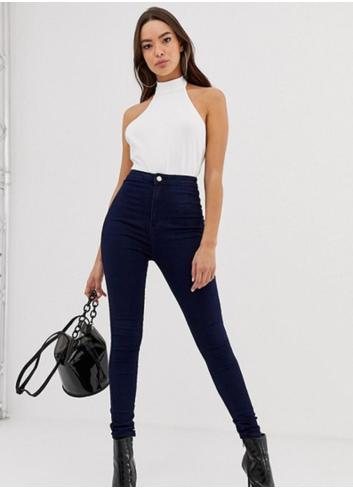 Jeans cu talie ridicata skinny fit indigo